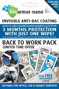 Bioarmor-Nano™ ANTIBAC - BACK TO WORK PACK, invisible tough antibacterial protective coating. 3 months protection against harmful bacteria on the surface with just one wipe! - Bioarmor Nano