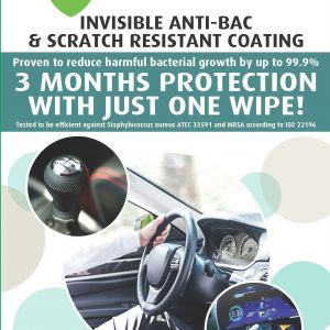 Bioarmor-Nano™ ANTIBAC - invisible tough antibacterial protective coating for Automotive Interiors -hard plastic, glass and varnished wood interior surfaces. - Bioarmor Nano