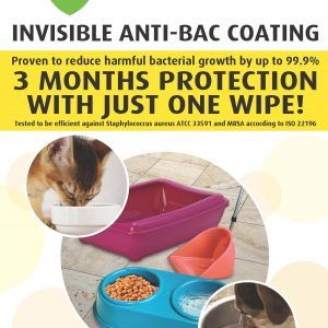 Bioarmor-Nano™ ANTIBAC - invisible tough antibacterial protective coating for  for larger Pet Products (dogs & cats). 3 months protection against harmful bacteria on the surface with just one wipe! - Bioarmor Nano