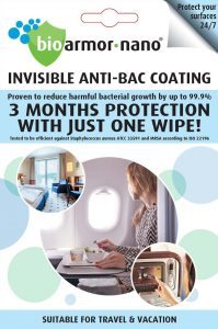 Bioarmor-Nano™ ANTIBAC - invisible tough antibacterial protective coating for Travel & Vacation. 3 months protection against harmful bacteria on the surface with just one wipe! - Bioarmor Nano