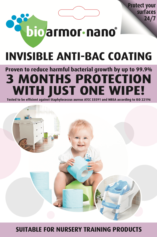 Bioarmor-Nano™ ANTIBAC - invisible tough antibacterial protective coating for Nursery Training Products. 3 months protection against harmful bacteria on the surface with just one wipe! - Bioarmor Nano