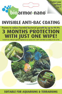 Bioarmor-Nano™ ANTIBAC - invisible tough antibacterial protective coating for Aquarium & Terraruim. 3 months protection against harmful bacteria on the surface with just one wipe! - Bioarmor Nano