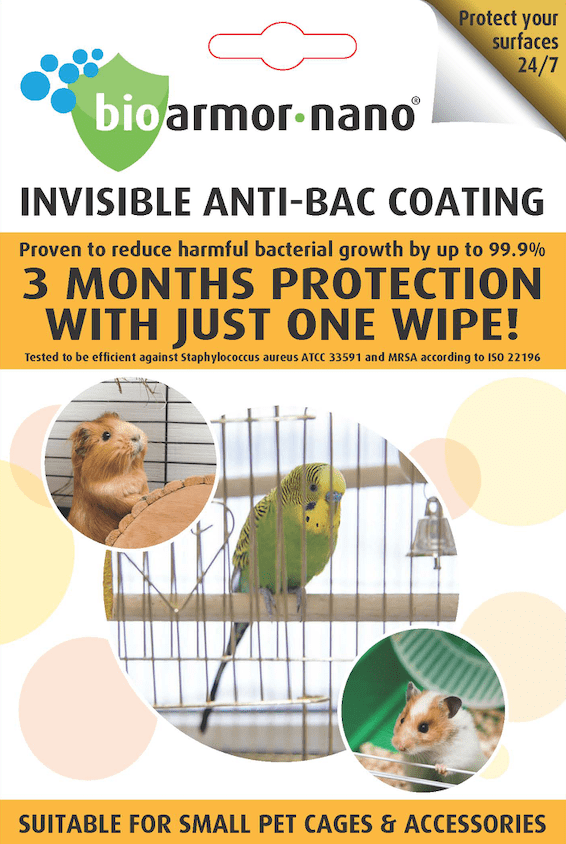 Bioarmor-Nano™ ANTIBAC - invisible tough antibacterial protective coating for Small Pet Cages. 3 months protection against harmful bacteria on the surface with just one wipe! - Bioarmor Nano
